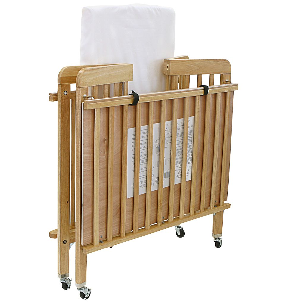 LA Baby Folding Compact Crib and Mattress