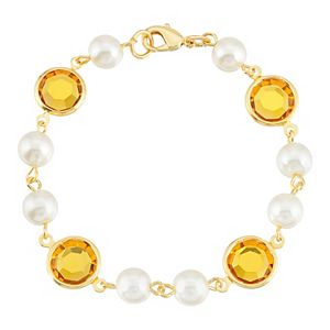 1928 Gold Tone Simulated Pearl Chain Bracelet with Swarovski Crystals