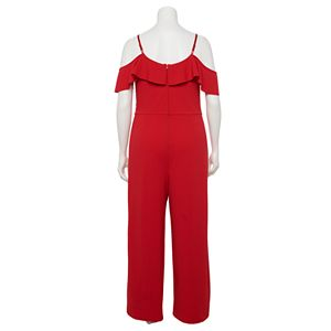 Juniors' Plus Size IZ Byer Cold Shoulder Wide-Leg Jumpsuit