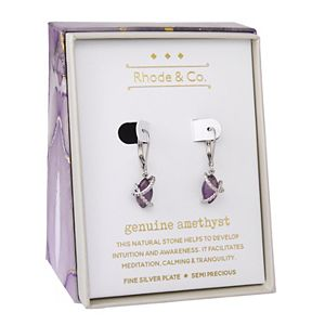 Rhode & Co. Fine Silver Plated Amethyst Teardrop Earrings