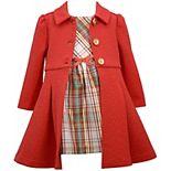 Toddler Girl Bonnie Jean Plaid Taffeta Dress & Knit Coat