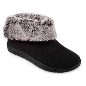 Women's isotoner Faux Fur Boot Slipper Made with Recycled Microsuede