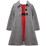 Toddler Girl Bonnie Jean Knit Dress & Houndstooth Coat
