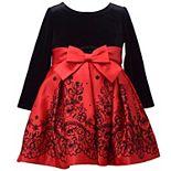 Toddler Girl Bonnie Jean Long-Sleeved Velvet Taffeta Dress