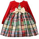 Toddler Girl Bonnie Jean Plaid Taffeta Dress & Velvet Bolero Set