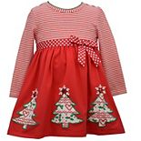 Toddler Girl Bonnie Jean Christmas Tree Babydoll Dress