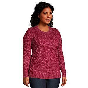 Plus Size Lands' End Drifter Cable-Knit Crewneck Sweater