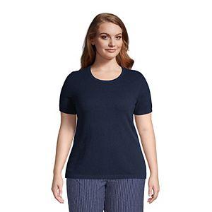 Plus Size Lands' End Cashmere Short Sleeve Crewneck Sweater