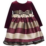Baby Girl Bonnie Jean Striped Velvet Holiday Dress