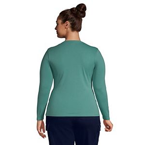 Plus Size Lands' End Cotton Long Sleeve Crewneck T-Shirt