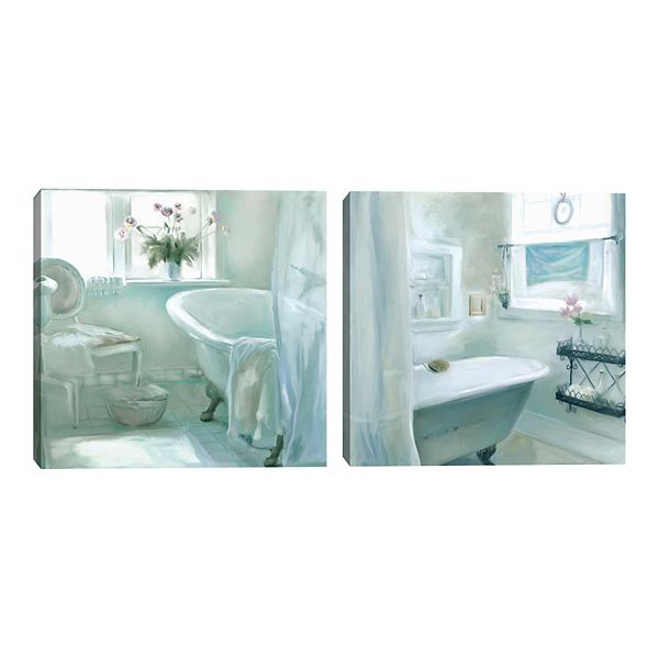 Fine Art Canvas Ambience Tranquility Bathroom Canvas Wall Art 2 Piece Set