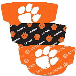 Adult WinCraft Clemson Tigers Face Covering 3-Pack - MADE IN USA
