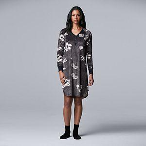 Women's Simply Vera Vera Wang Velour Sleepshirt & Socks Set