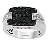 Men's Effy Sterling Silver Black & White Sapphire Signet Ring