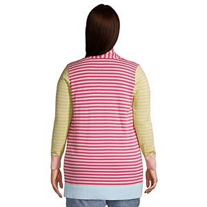 Plus Size Lands' End Draped Open-Front Long Cardigan Sweater