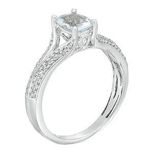 10k White Gold 1/6 Carat T.W. Diamond & Aquamarine Ring