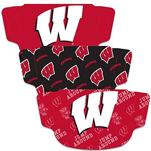 Adult WinCraft Wisconsin Badgers Face Covering 3-Pack - MADE IN USA