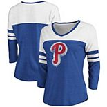 Women's Fanatics Branded Heathered Royal/White Philadelphia Phillies Two-Toned Distressed Cooperstown Collection Tri-Blend 3/4-Sleeve V-Neck T-Shirt