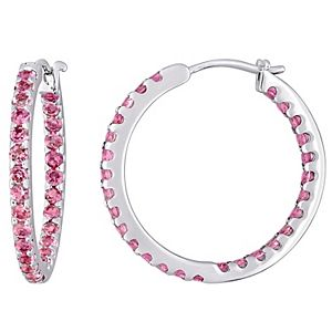 Stella Grace 10k White Gold Pink Tourmaline Inside-Out Hoop Earrings