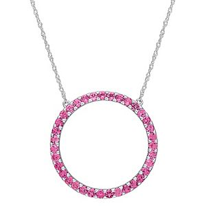 Stella Grace 10k White Gold Pink Tourmaline Circle Pendant Necklace