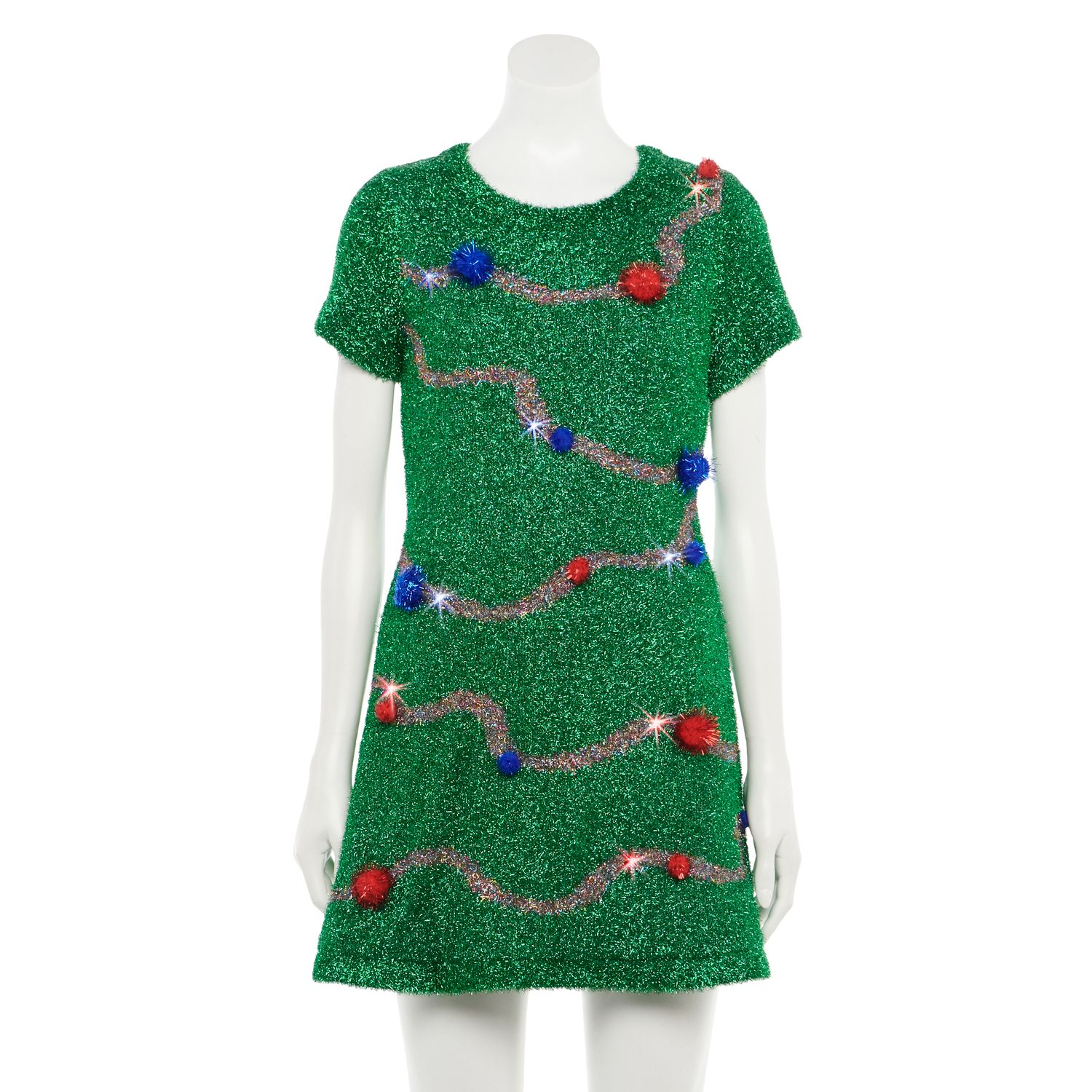 Juniors' Love & Let Love Tinsel Christmas Tree Fit & Flare Light-Up Dress