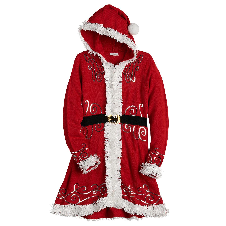 Juniors' Love & Let Love Santa Fit & Flare Dress with Hood