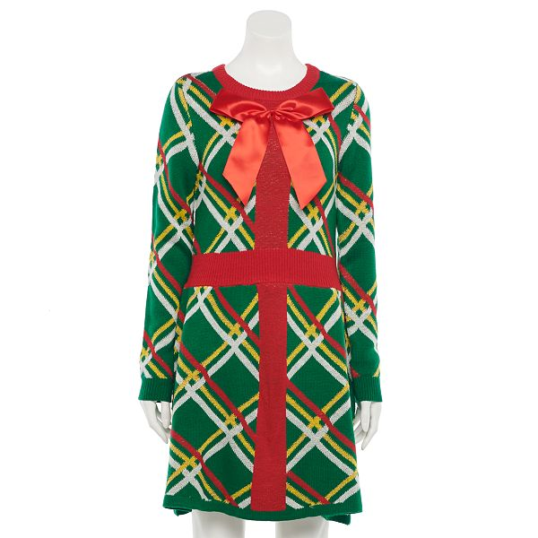 Juniors' Love & Let Love Wrapped Present Fit & Flair ... Christmas Sweater Dress