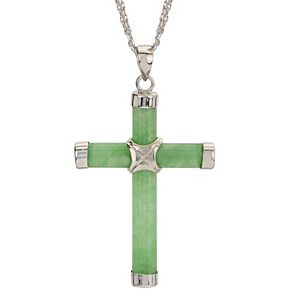 Sterling Silver Jade Cross Pendant Necklace
