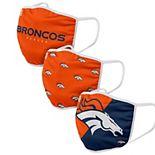 Adult FOCO Denver Broncos Face Covering 3-Pack