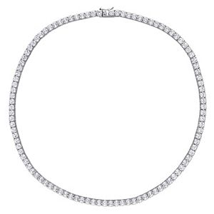 Stella Grace Sterling Silver Lab-Created White Sapphire Tennis Necklace