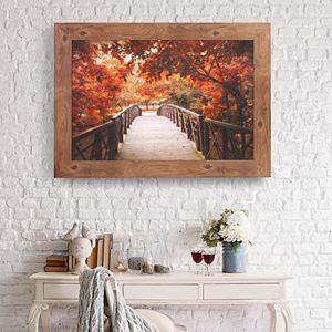 Patton Fall Footbridge Photography Framed Canvas Wall Art