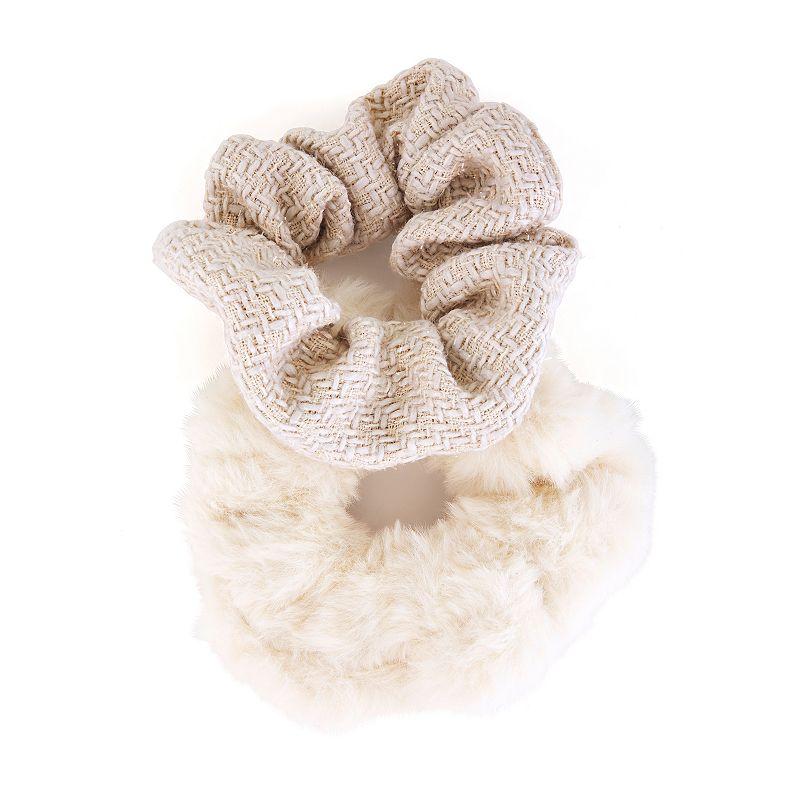 Faux Fur & Tweed 2-Piece Scrunchie Set, Brown