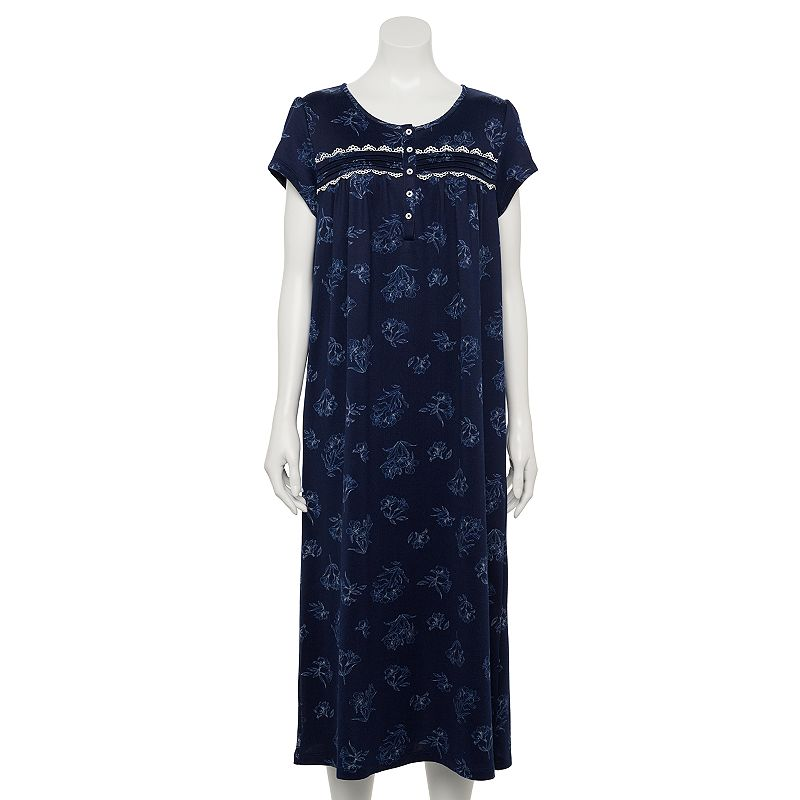 Petite Croft & Barrow Short Sleeve Knit Nightgown, Women's, Size: XL Petite, Dark Blue