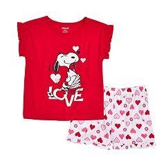 Girls 4-12 Snoopy Love Pajama Set