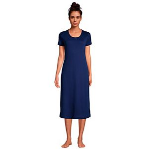 Women's Lands' End Supima Cotton Short Sleeve Midcalf Nightgown