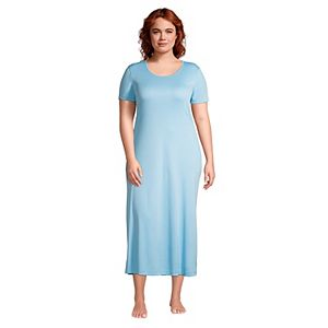 Plus Size Lands' End Supima Cotton Short Sleeve Midcalf Nightgown