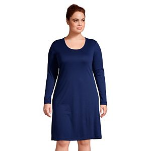 Plus Size Lands' End Supima Cotton Long Sleeve Knee Length Nightgown