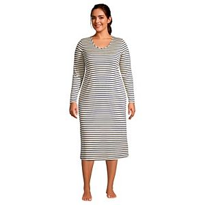 Plus Size Lands' End Supima Cotton V-Neck Long Sleeve Nightgown