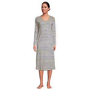 Petite Lands' End Supima Cotton V-Neck Long Sleeve Nightgown