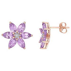 Stella Grace 10k Rose Gold Amethyst & Diamond Accent Floral Stud Earrings