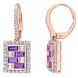 Stella Grace 10k Rose Gold Amethyst White Topaz & 1/10 Carat T.W. Diamond Leverback Earrings
