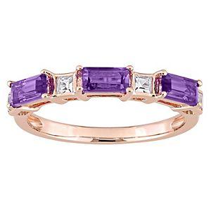 Stella Grace 10k Rose Gold Amethyst White Topaz Baguette Ring