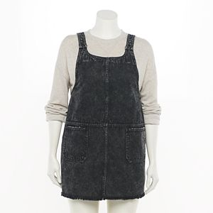 Juniors' Plus Size SO® Scoopneck Pinafore Dress
