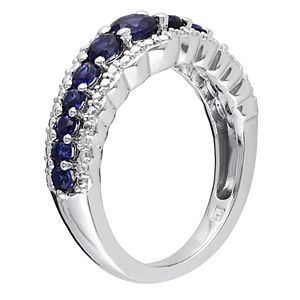 Stella Grace Sterling Silver Lab-Created Blue Sapphire Graduated Ring