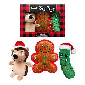 Woof 3-Pack Plush Holiday Dog Toys