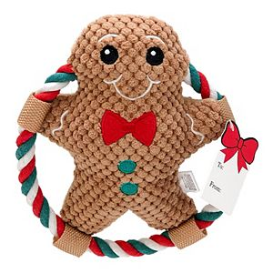 Woof Holiday Gingerbread with Rope Plush Toy