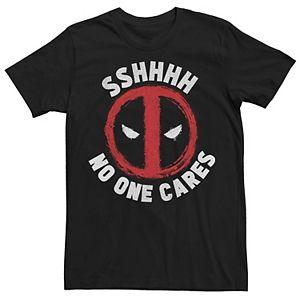 "Men's Marvel Deadpool Logo ""SSHHHH No One Cares"" Tee"