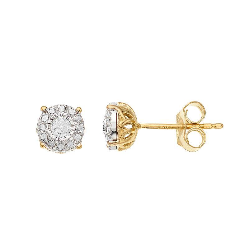 1/4 Carat T.W. Diamond Composite Round Stud Earrings. Women's. Yellow