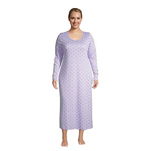 Plus Size Lands' End Supima Cotton Long Sleeve Midcalf Nightgown