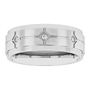 Men's Diamond Accent Stainless Steel Wedding Band